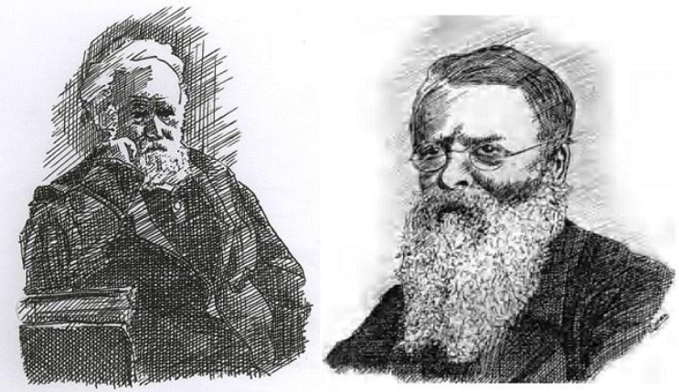 Janssen (left) and James Francis Tennant (right) in later years. (Portrait by Biman Nath)